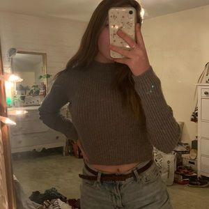 Brandy Melville grey turtle neck cropped sweater